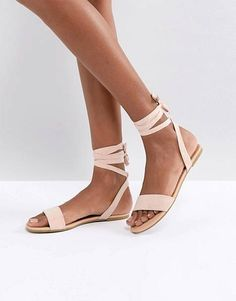 Buy ASOS FIOLA Tie Leg Flat Sandals at ASOS. Get the latest trends with ASOS now. Tie Up Sandals, Shoes Flats Sandals, Nude Sandals, Flat Sandals, Wedge Sandal, Bridesmaid Shoes Flat, Prom Shoes, Wedding Shoes, Summer Shoes
