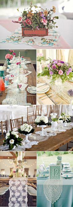 Caminos de mesa originales para decoración de bodas. Wedding decoration table runners