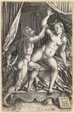 Tarquin and Lucretia; Georg Pencz (Inventor); Heinrich Aldegrever (engraver); 1539, Dresden, Germany