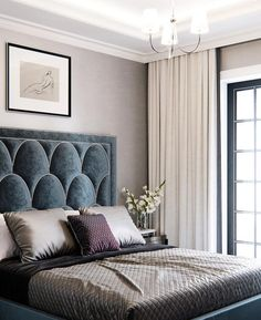 elegant bedroom decor, traditional glam master bedroom design with velvet headboard, scallop headboard with gray bedding, neutral elegant bedroom design Hotel Bedroom Design, Master Bedroom Design, Home Bedroom, Bedroom Ideas, Bedroom Designs, Master Suite, Hotel Bedroom Decor, Hotel Inspired Bedroom, Bedroom Country