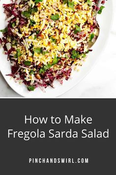 Of the Fregola Sarda recipes I've tried, this one is my favorite! A beautiful, versatile salad with raddicchio (or endive), hard boiled eggs, capers and a delightfully tangy, fresh lemon dressing.