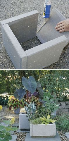 DIY planters: All you need are a few - pavers, - landscape-block adhesive, and a little time. Wait 24 hours for everything to cure and you're ready to move your new planters into place and fill them with dirt and greenery. Maybe stain them too?