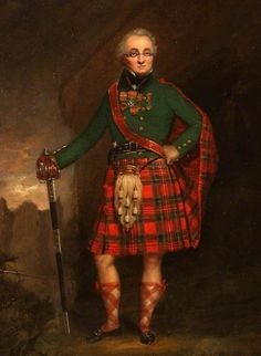 Major General David Stewart of Garth wearing a kilt and fly plaid of Royal Stewart tartan. Unusually for the date he is shown wearing a plain rather than a tartan coat, possibly reflecting his military career. Scottish Dress, Scottish Fashion, Celtic Clothing, Royal Stewart Tartan, Viking Culture, Tartan Kilt, Major General, Scottish Clans, Highlanders