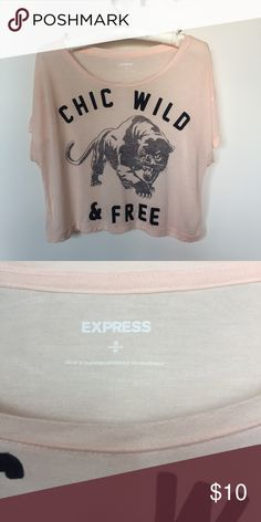 Express Cropped Graphic Tee Excellent condition - worn once.  Very soft. Express Tops Crop Tops