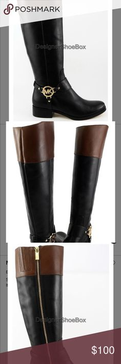 Michael Kors leather riding boots Black and brown authentic riding boots. Worn once. Slim calf. Michael Kors Shoes Winter & Rain Boots