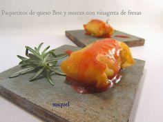 Les receptes del Miquel: Paquetitos rellenos de queso Brie y nueces con vinagreta de fresa