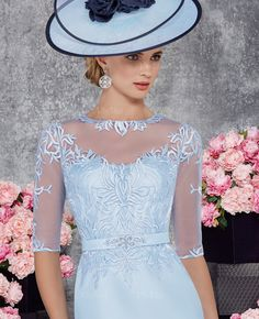 Sheath/Column Scoop Neck Knee-Length Beading Appliques Lace Satin Zipper Up Sleeves 1/2 Sleeves Yes Sky Blue Spring Summer Fall General Mother of the Bride Dress