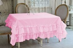 Set of 5 pc Egyptian cotton Multi Ruffle TableCloth Rectangular All color & Size  | eBay