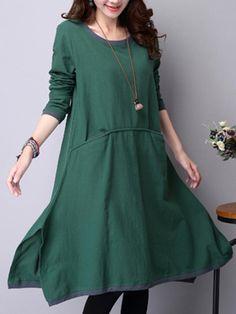 #BerryLook - #berrylook Round Neck Contrast Trim Pocket Midi Shift Dress - AdoreWe.com