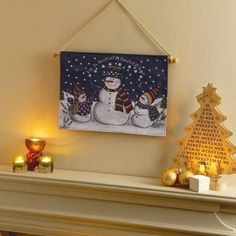 Light up - Let It Snow - Snowman Fibre Optic Christmas Decoration Wall Tapestry