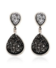 This Onyx & Druzy Crystal Teardrop Earrings by Sevil Designs is perfect! #zulilyfinds