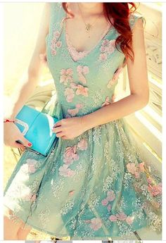Voile Splicing Stereo Flower Beading Embellished Lace Dress