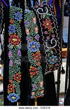 Wide belts men, and embroidered Romanian traditional - Stock Image Flower Embroidery Designs, Hand Embroidery Designs, Embroidery Dress, Beaded Embroidery, Embroidery Patterns, Crochet Wallet, Beaded Brooch, Bead Crochet, Stitch Design