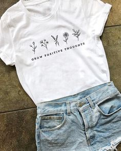 Grow Positive Thoughts funny women fashion grunge pure cotton girl street style quote t shirt hipster tees vintage graphic tops Graphic Tops Cute Tshirts, Cool Shirts, Tee Shirts, Tee Shirt Designs, Tee Design, T Shirt Graphic Design, Simple Shirt Design, T-shirt Broderie, Cute Graphic Tees