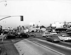 Laurel Canyon and Ventura Boulevards in 1955 looking East toward Universal City Ventura Boulevard, San Luis Obispo County, San Fernando Valley, California Dreamin', Vintage California, Laurel Canyon, California History, Universal City, Valley Girls