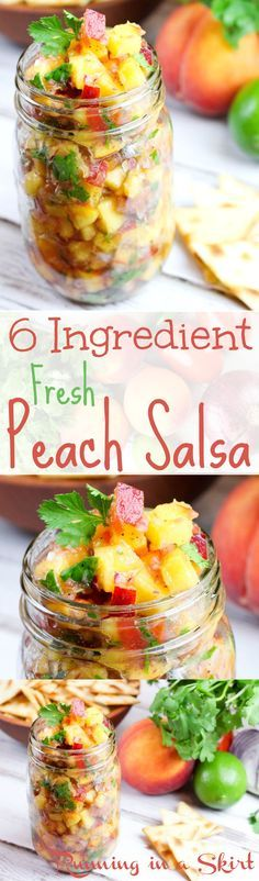 Fresh Peach Salsa Recipe! A clean eating & quick summer recipe. This fresh fruit salsa recipe is perfect with chips or crackers. Topped with cilantro! Tastes amazing!   Running in a Skirt