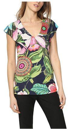 #Desigual Shirt - Modell Erasmo, Muster: floral, und Mandala, schwarz.