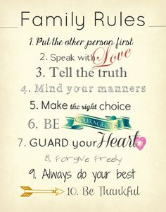 Family Rules by @Katherine Adams Adams Adams Adams Adams Farley Disposition.. this is an awesome blog :)
