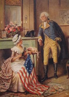 According to family history, George Washington selected Philadelphian Betsy Ross to make the first American stars & stripes flag. I Love America, God Bless America, American Presidents, Us Presidents, Conquistador, American Pride, American History, American Flag, American Independence