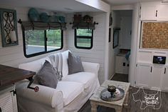 I LOVE this RV!!!!!Saved by Scottie rv remodel after living room alternate view