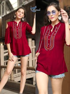 We are the manufacturer and exporter of indian ethnic wear. The one stop shop for wholesale purchasing. Latest Top Designs, Latest Tops For Girls, Mode Outfits, Fashion Outfits, Western Tops, Fashion Catalogue, Matches Fashion, Fancy, Short Tops