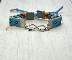 Infinity Bracelet - Beaded Bracelet - Boho Bracelet - Hippie Bracelet - Adjustable Bracelet - Womens Bracelet - Under 25 - Gifts For Her Hippie Bracelets, Bead Loom Bracelets, Fashion Bracelets, Fashion Jewelry, Bohemian Style Jewelry, Boho, Gifts For Her, Great Gifts, Southwestern Style