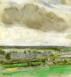 "blastedheath: "" Edouard Vuillard (French, Le nuage brun [The brown cloud], Pastel on buff paper, x cm. Edouard Vuillard, Colorful Paintings, Van Gogh, Online Art, Printmaking, Artsy, Clouds, French, Portrait"