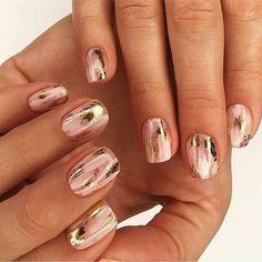 Nail Art Designs 💅 - Cute nails, Nail art designs and Pretty nails. New Nail Designs, Simple Nail Designs, Acrylic Nail Designs, Foil Nail Designs, Foil Nail Art, Foil Nails, Sparkle Nails, Pink Nails, Pastel Nails