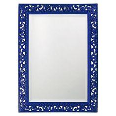 Howard Elliott Rectangle Bristol Glossy Royal Blue Mirror - 26W x 35H in. - 6041RB