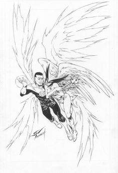 Green Lantern (John Stewart) and Hawkgirl : Wilson Tortosa Comic Art