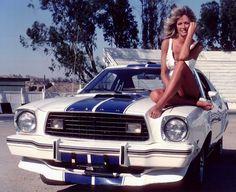 1976 Ford Mustang Cobra II and Farrah Fawcett