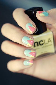 Geometric spring mani #ManicureMonday - Click image to find more Hair & Beauty Pinterest pins
