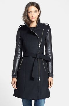 Mackage Leather Trim Wool Coat at Nordstrom.com. Modern moto styling, including an off-center front zip and supple leather sleeves, revs up a polished wool-blend coat topped with epaulets and cinched with a tie belt.