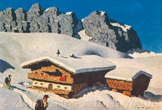 Hof am Gebirge - Alfons Walde (Hut on the Mountains) Ski Posters, Vintage Ski, Painters, Mount Everest, Mount Rushmore, Skiing, National Parks, Mountains, Retro