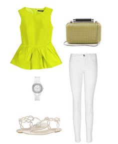 peplum top with white jeans