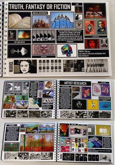 AL A2 Graphics Graphic Communication, A4 White Sketchbook, Brainstorm, ESA Theme 'Truth Fantasy or Fiction', Thomas Rotherham College, 2016