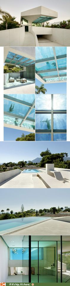 Can't have a cool pool board without the rooftop transparent bottom pool at the Jellyfish House by Wiel Arets Architects.
