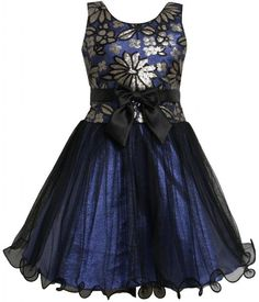 Bonnie Jean Girls Bow Front Sequin Floral Wire Hem Mesh Overlay Dress:Amazon:Clothing