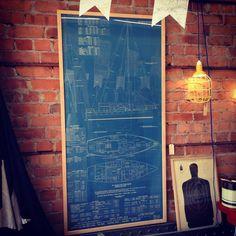 Framed vintage ship blueprint - The General Store