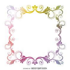 Square watercolor frame with swirls