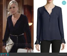 Ashley's navy blouse with eyelet cuffs on The Young and the Restless.  Outfit Details: https://wornontv.net/96802/ #TheYoungandtheRestless