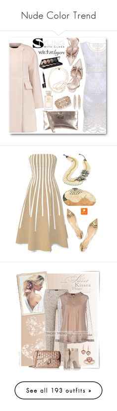 """""""Nude Color Trend"""" by yours-styling-best-friend ❤ liked on Polyvore featuring Kate Spade, Giambattista Valli, Charlotte Russe, Oasis, Witchery, Eyeko, Tory Burch, STELLA McCARTNEY, women's clothing and women's fashion"""
