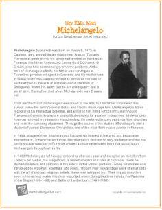 Michelangelo | Printable Biography for Kids - http://makingartfun.com/htm/f-maf-printit/michelangelo-printit-biography.htm