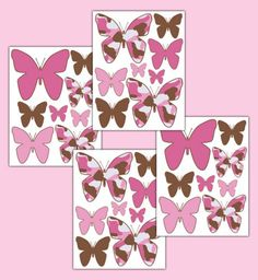 Pink Brown Camo Butterfly Wall Decals Girl Camouflage Stickers
