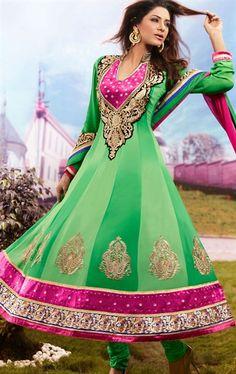 Exclusive Green Party Wear Anarkali Salwar Salwar Kameez Set INHSPMIS5001 - www.indianwardrobe.com