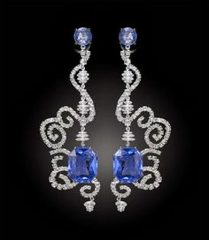 Carnet Spellbound earrings - diamonds and sapphires. Michelle Ong via Carnet. Jewelry 2014, Ear Jewelry, Fine Jewelry, Pandora Jewelry, Wire Jewellery, Jewellery Designs, Jewlery, Sapphire Jewelry, Sapphire Earrings