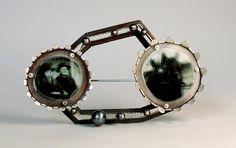 Jana Machatova  Brooch: Black Horses 2011  Silver,paper in lamineted plastic, pearls