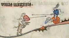 Bizarre and vulgar illustrations from illuminated medieval manuscripts * Trouvée sans références*