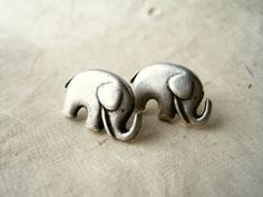 Elephant Earrings Silver Elephant Studs. Cute Animal Earrings. Good Luck, Silver Earrings. Metal Jewelry. Holiday Gifts. on Etsy, $16.00