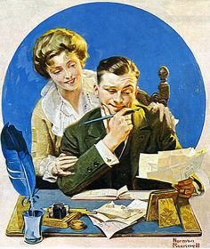 """Paying the Bills"" by Norman Rockwell, 1921 ・ Style: Regionalism ・ Genre: genre painting 